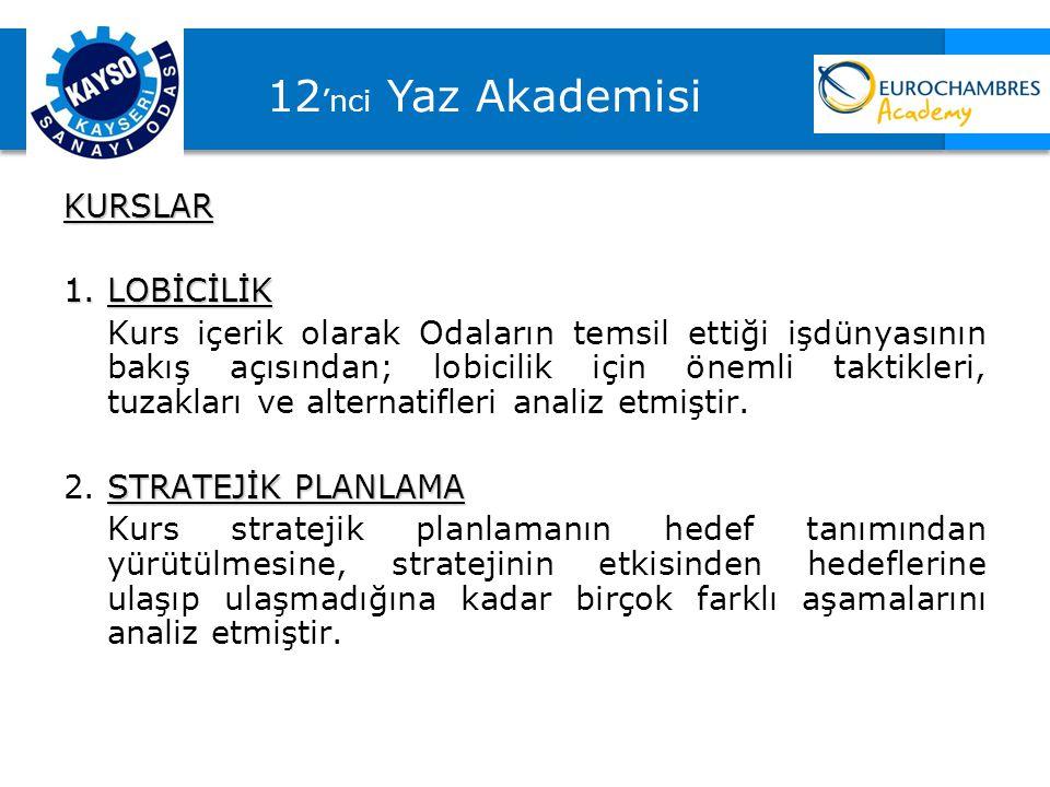 12'nci Yaz Akademisi KURSLAR LOBİCİLİK