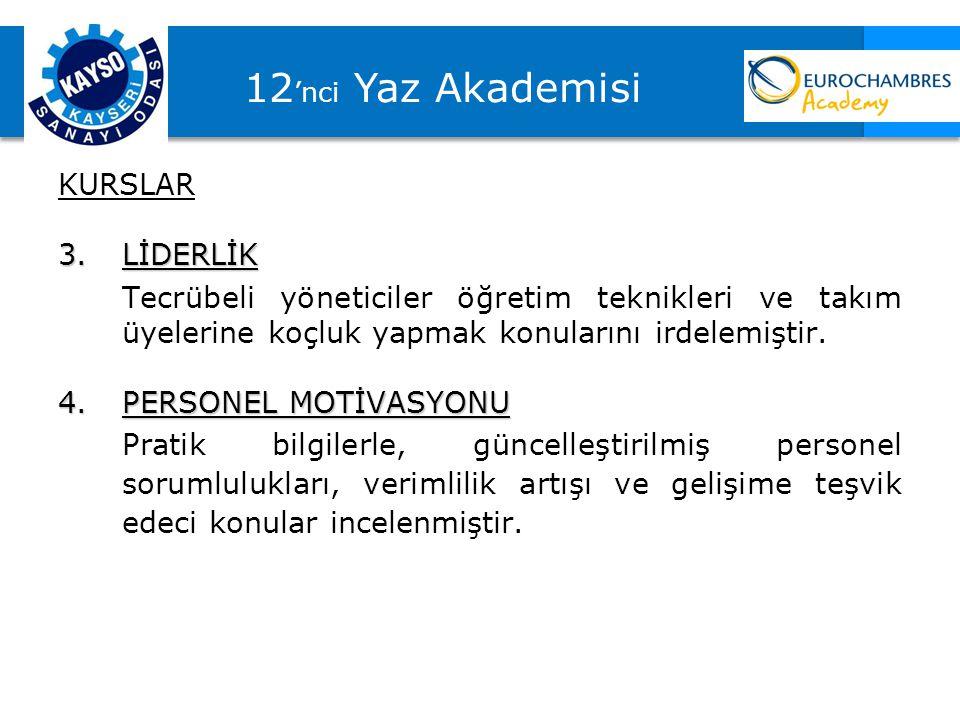 12'nci Yaz Akademisi KURSLAR 3. LİDERLİK