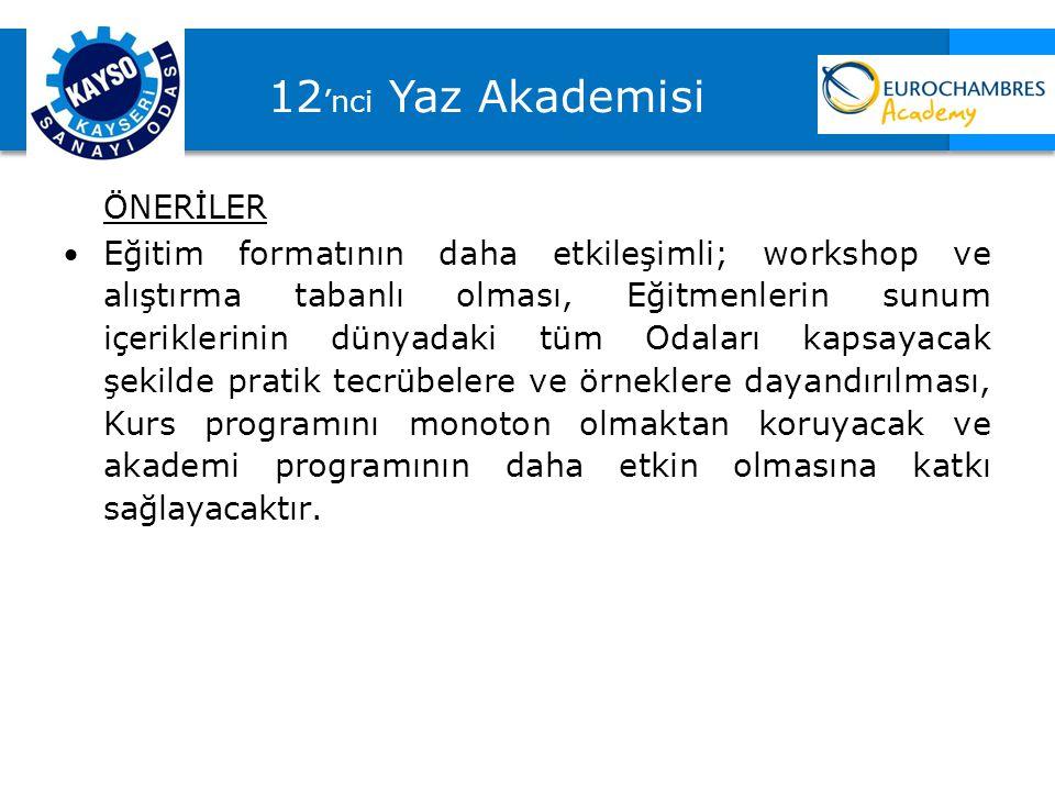 12'nci Yaz Akademisi ÖNERİLER