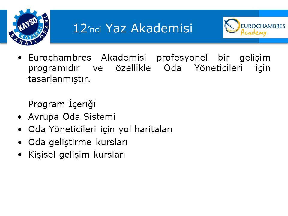 12'nci Yaz Akademisi Eurochambres Akademisi profesyonel bir gelişim programıdır ve özellikle Oda Yöneticileri için tasarlanmıştır.