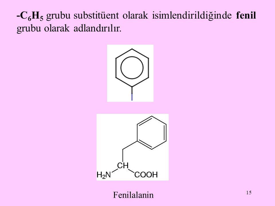 -C6H5 grubu substitüent olarak isimlendirildiğinde fenil grubu olarak adlandırılır.