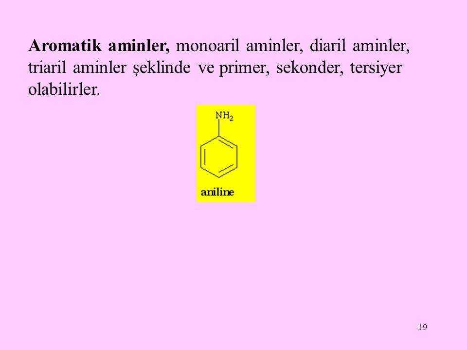 Aromatik aminler, monoaril aminler, diaril aminler, triaril aminler şeklinde ve primer, sekonder, tersiyer olabilirler.