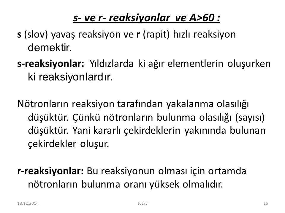s- ve r- reaksiyonlar ve A>60 :