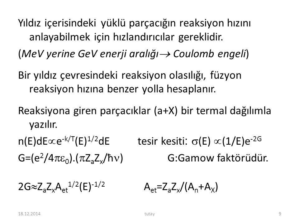 Yıldız içerisindeki yüklü parçacığın reaksiyon hızını anlayabilmek için hızlandırıcılar gereklidir. (MeV yerine GeV enerji aralığı Coulomb engeli) Bir yıldız çevresindeki reaksiyon olasılığı, füzyon reaksiyon hızına benzer yolla hesaplanır. Reaksiyona giren parçacıklar (a+X) bir termal dağılımla yazılır. n(E)dEe-k/T(E)1/2dE tesir kesiti: (E) (1/E)e-2G G=(e2/40).(ZaZx/ħ) G:Gamow faktörüdür. 2GZaZxAet1/2(E)-1/2 Aet=ZaZx/(An+AX)