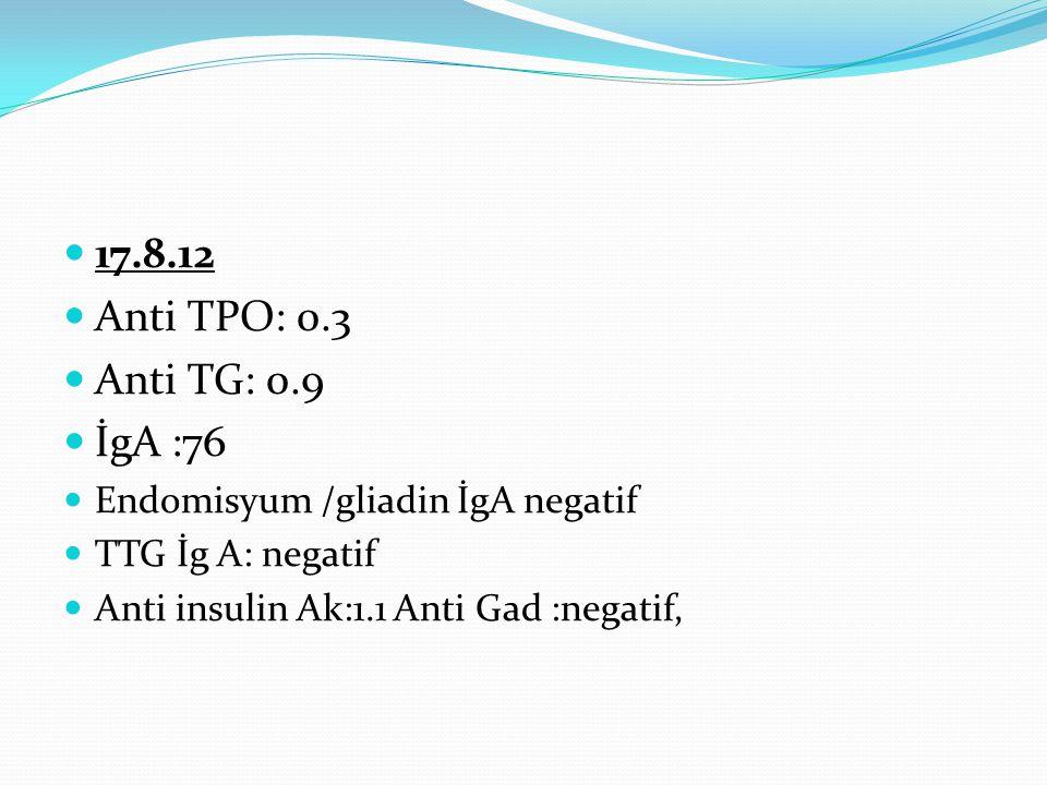 17.8.12 Anti TPO: 0.3. Anti TG: 0.9. İgA :76. Endomisyum /gliadin İgA negatif. TTG İg A: negatif.