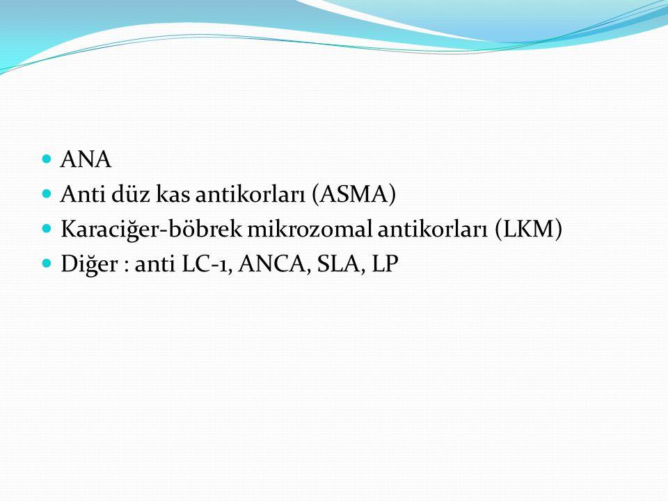 ANA Anti düz kas antikorları (ASMA) Karaciğer-böbrek mikrozomal antikorları (LKM) Diğer : anti LC-1, ANCA, SLA, LP.