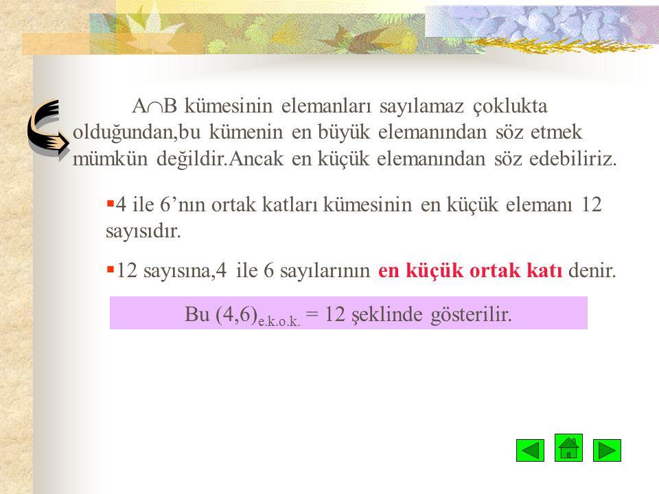 Bu (4,6)e.k.o.k. = 12 şeklinde gösterilir.