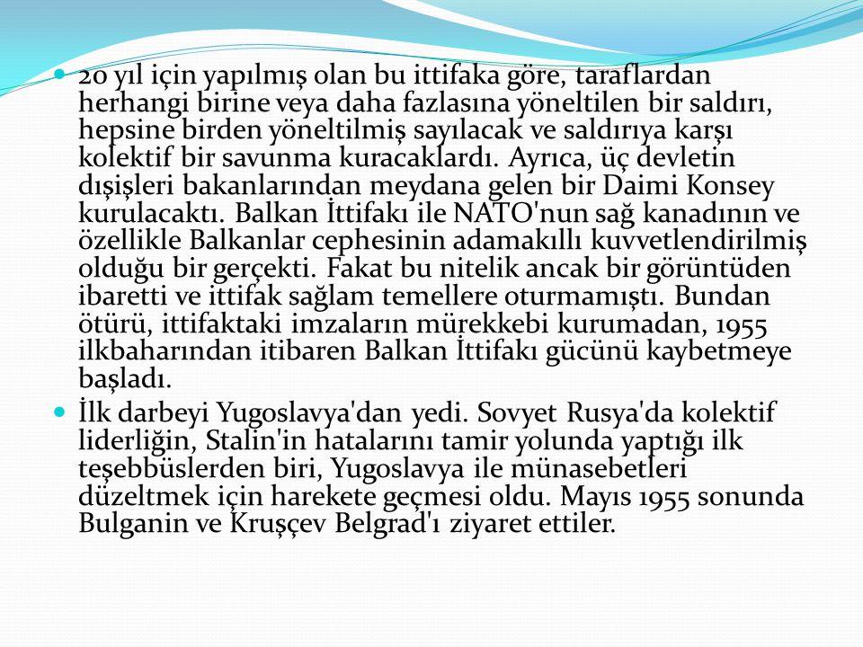 20 yıl için yapılmış olan bu ittifaka göre, taraflardan herhangi birine veya daha fazlasına yöneltilen bir saldırı, hepsine birden yöneltilmiş sayılacak ve saldırıya karşı kolektif bir savunma kuracaklardı. Ayrıca, üç devletin dışişleri bakanlarından meydana gelen bir Daimi Konsey kurulacaktı. Balkan İttifakı ile NATO nun sağ kanadının ve özellikle Balkanlar cephesinin adamakıllı kuvvetlendirilmiş olduğu bir gerçekti. Fakat bu nitelik ancak bir görüntüden ibaretti ve ittifak sağlam temellere oturmamıştı. Bundan ötürü, ittifaktaki imzaların mürekkebi kurumadan, 1955 ilkbaharından itibaren Balkan İttifakı gücünü kaybetmeye başladı.