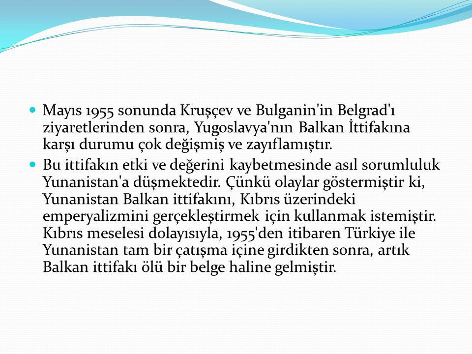 Mayıs 1955 sonunda Kruşçev ve Bulganin in Belgrad ı ziyaretlerinden sonra, Yugoslavya nın Balkan İttifakına karşı durumu çok değişmiş ve zayıflamıştır.