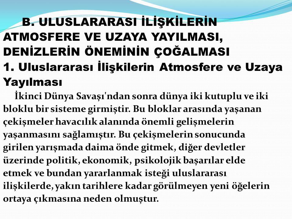 B. ULUSLARARASI İLİŞKİLERİN ATMOSFERE VE UZAYA YAYILMASI,