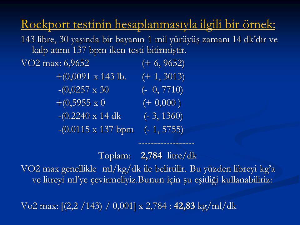 Rockport testinin hesaplanmasıyla ilgili bir örnek: