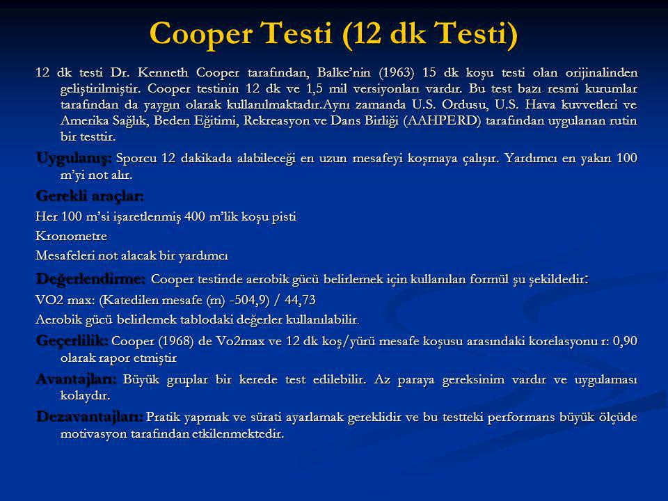 Cooper Testi (12 dk Testi)