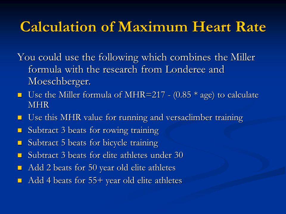 Calculation of Maximum Heart Rate