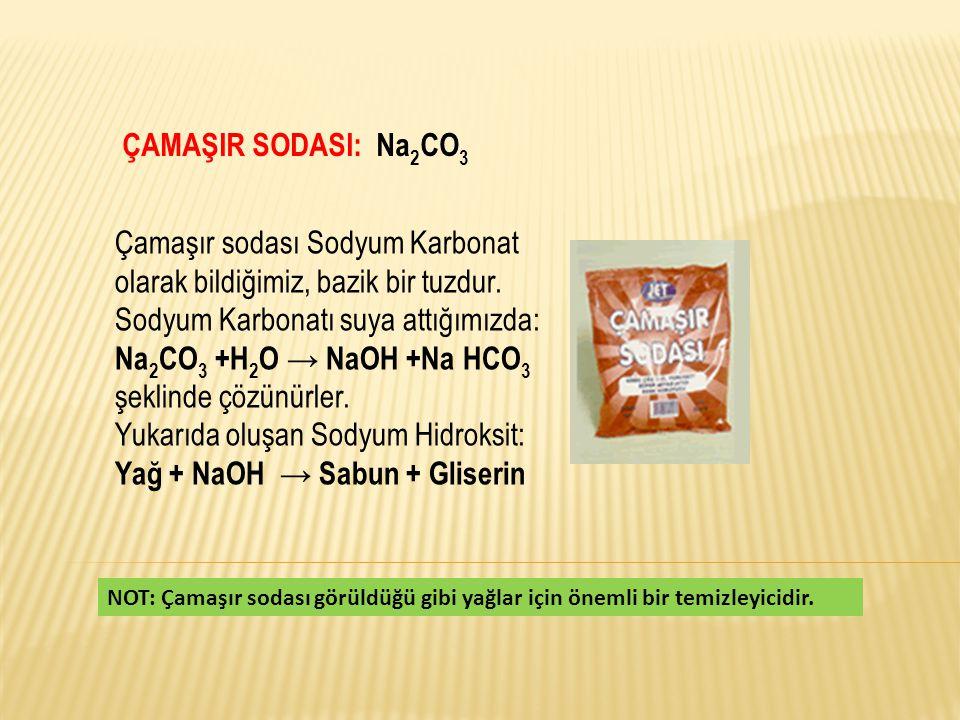 Çamaşır sodası Sodyum Karbonat olarak bildiğimiz, bazik bir tuzdur.