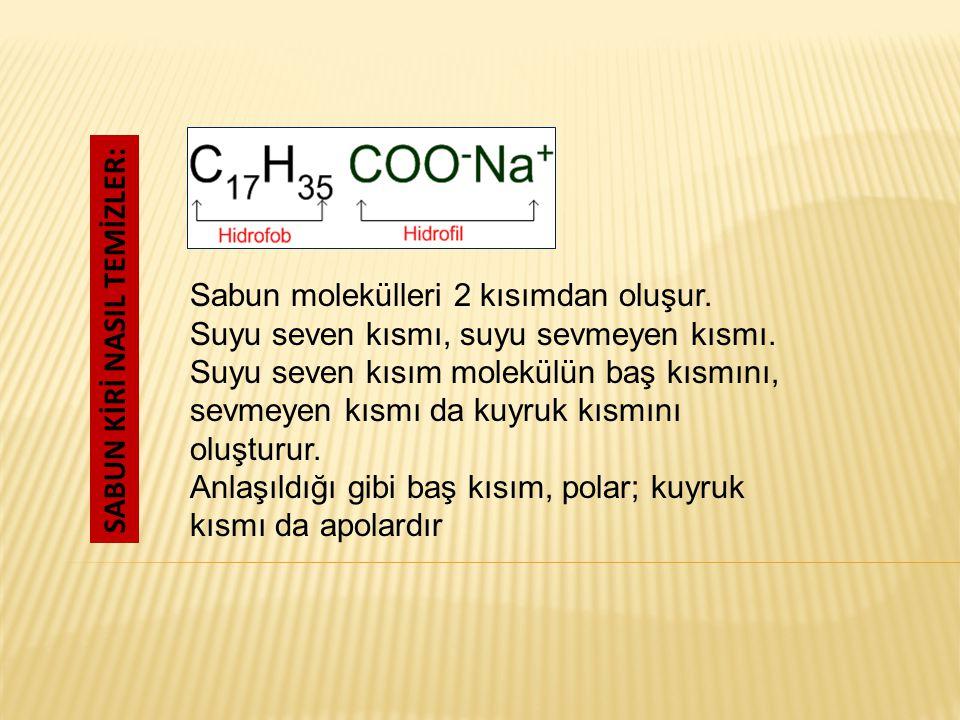 Sabun molekülleri 2 kısımdan oluşur.