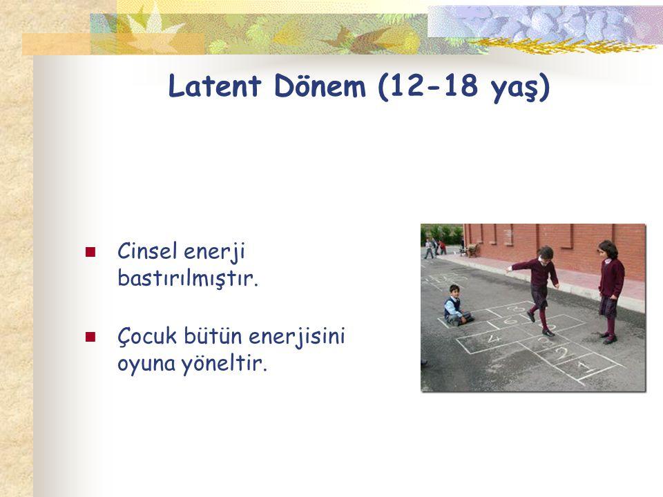 Latent Dönem (12-18 yaş) Cinsel enerji bastırılmıştır.