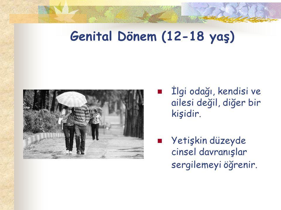 Genital Dönem (12-18 yaş) İlgi odağı, kendisi ve ailesi değil, diğer bir kişidir.