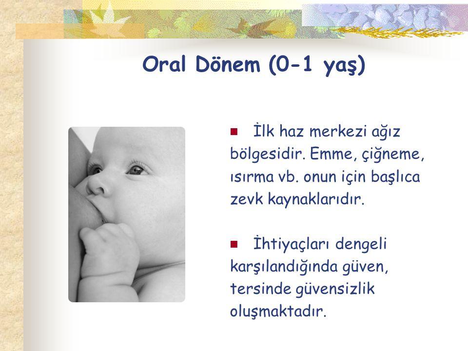 Oral Dönem (0-1 yaş) İlk haz merkezi ağız bölgesidir. Emme, çiğneme,