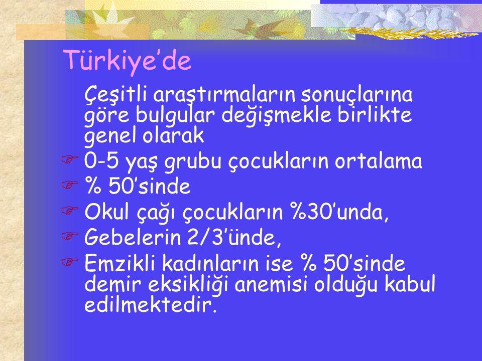 Türkiye'de 0-5 yaş grubu çocukların ortalama % 50'sinde