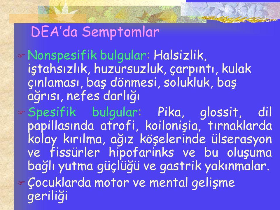 DEA'da Semptomlar