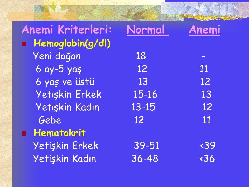 Anemi Kriterleri: Normal Anemi
