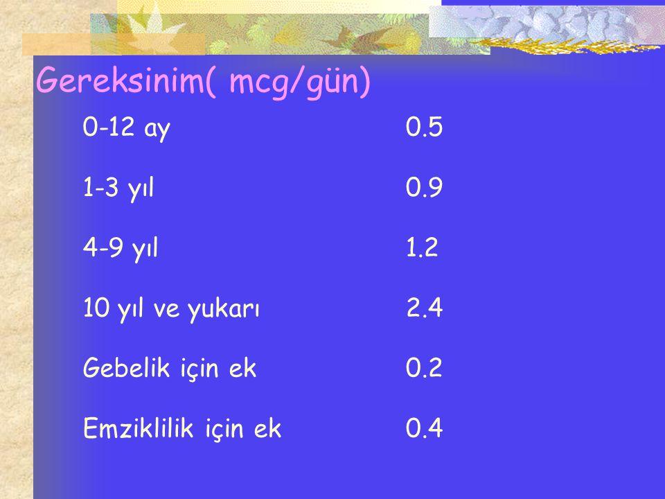 Gereksinim( mcg/gün) 0-12 ay 0.5 1-3 yıl 0.9 4-9 yıl 1.2