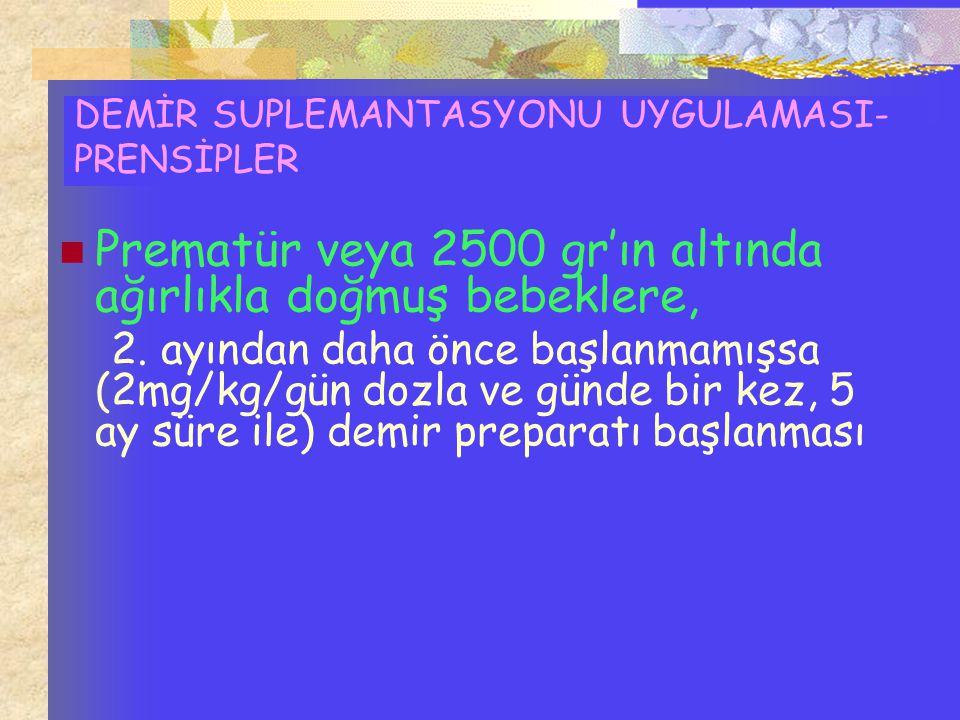 DEMİR SUPLEMANTASYONU UYGULAMASI-PRENSİPLER