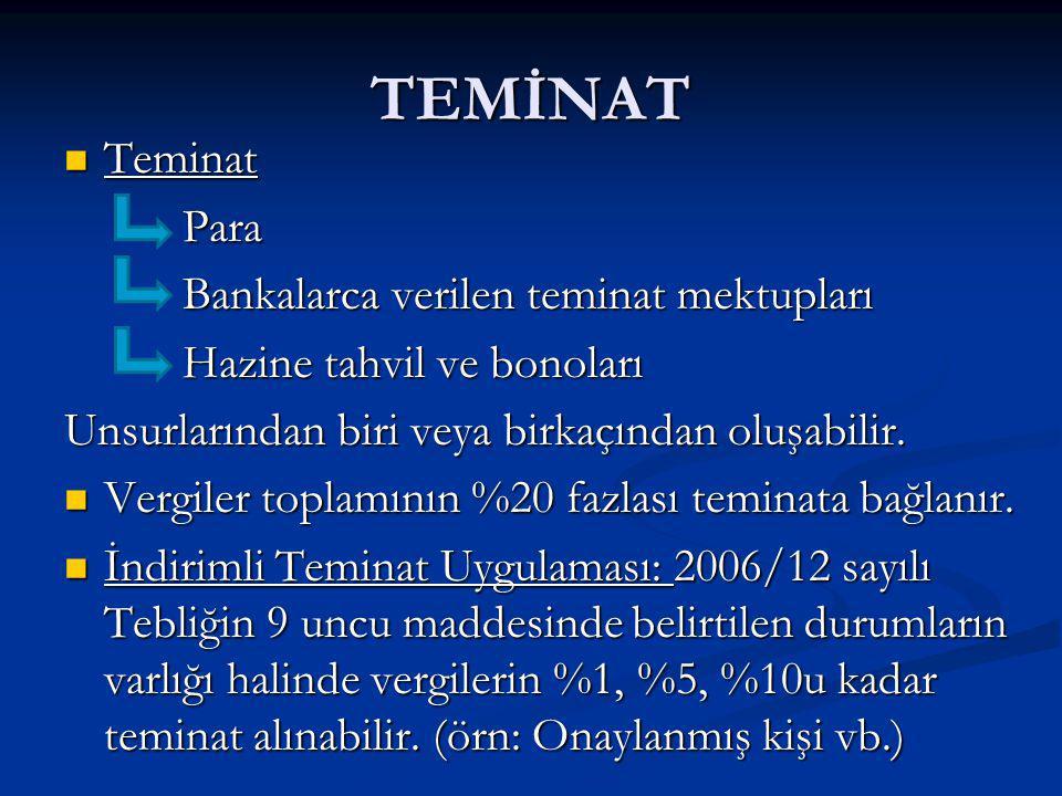 TEMİNAT Teminat Para Bankalarca verilen teminat mektupları