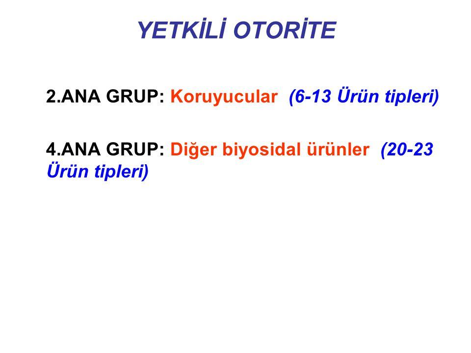 YETKİLİ OTORİTE 2.ANA GRUP: Koruyucular (6-13 Ürün tipleri)