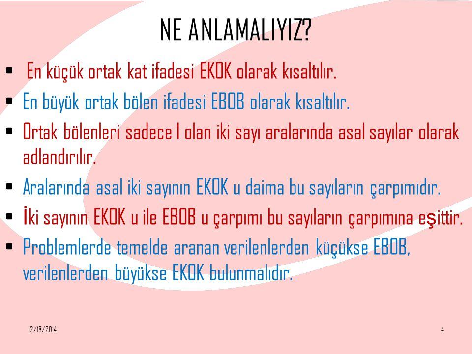 NE ANLAMALIYIZ En küçük ortak kat ifadesi EKOK olarak kısaltılır.