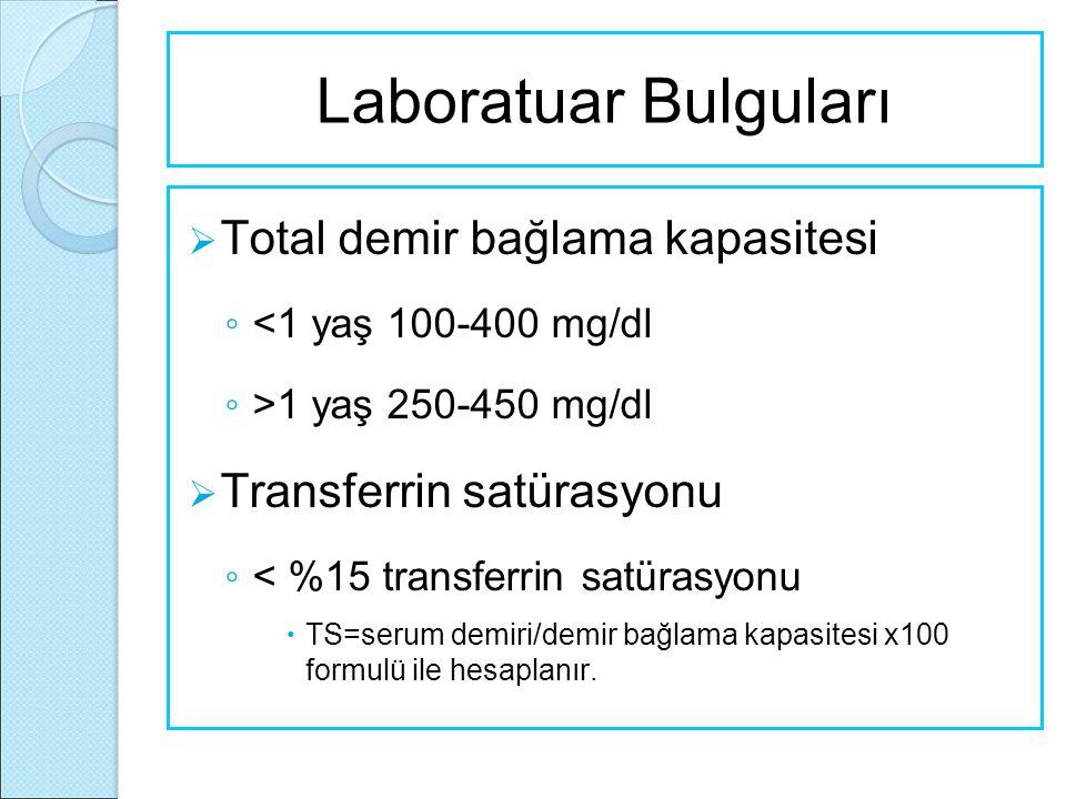 Laboratuar Bulguları Total demir bağlama kapasitesi