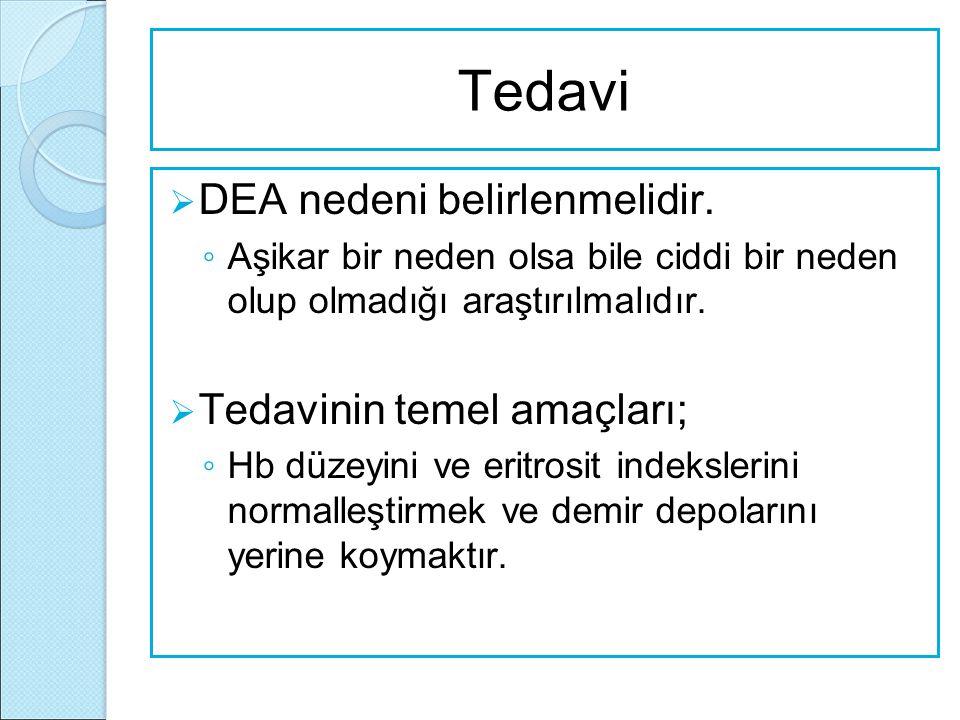 Tedavi DEA nedeni belirlenmelidir. Tedavinin temel amaçları;