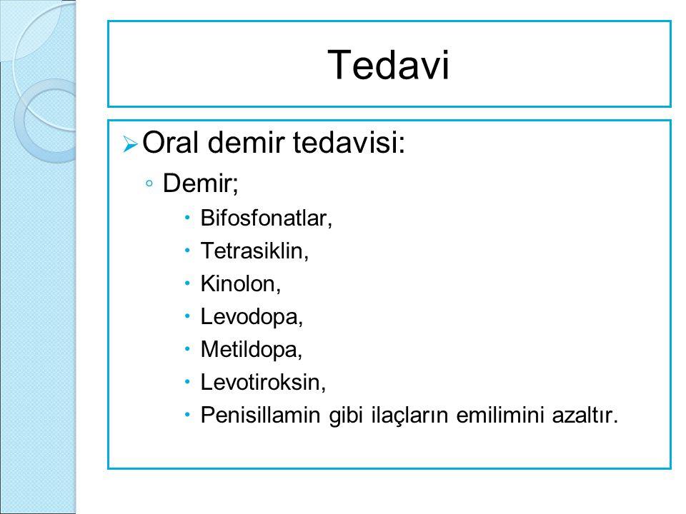 Tedavi Oral demir tedavisi: Demir; Bifosfonatlar, Tetrasiklin,