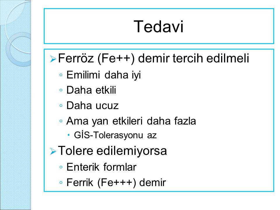Tedavi Ferröz (Fe++) demir tercih edilmeli Tolere edilemiyorsa