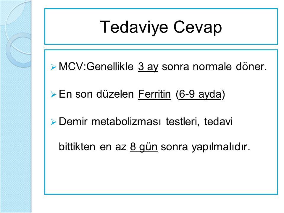 Tedaviye Cevap MCV:Genellikle 3 ay sonra normale döner.