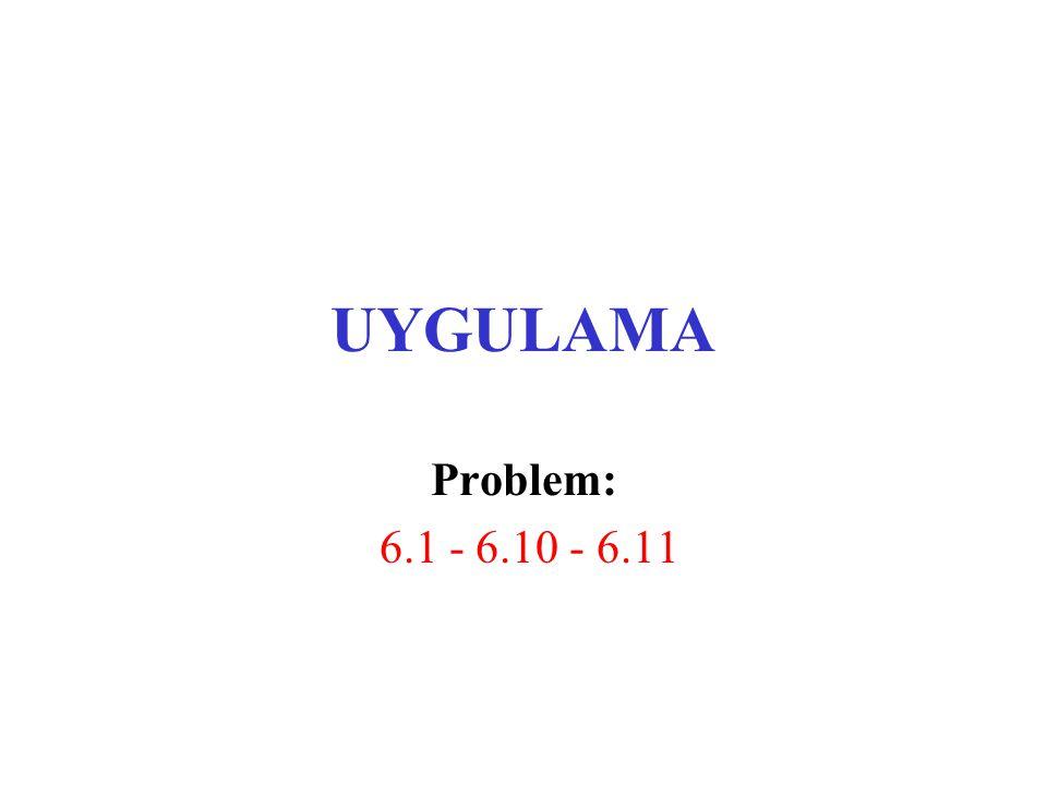 UYGULAMA Problem: 6.1 - 6.10 - 6.11