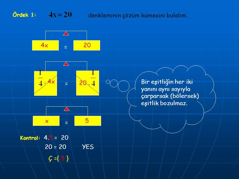 denkleminin çözüm kümesini bulalım.