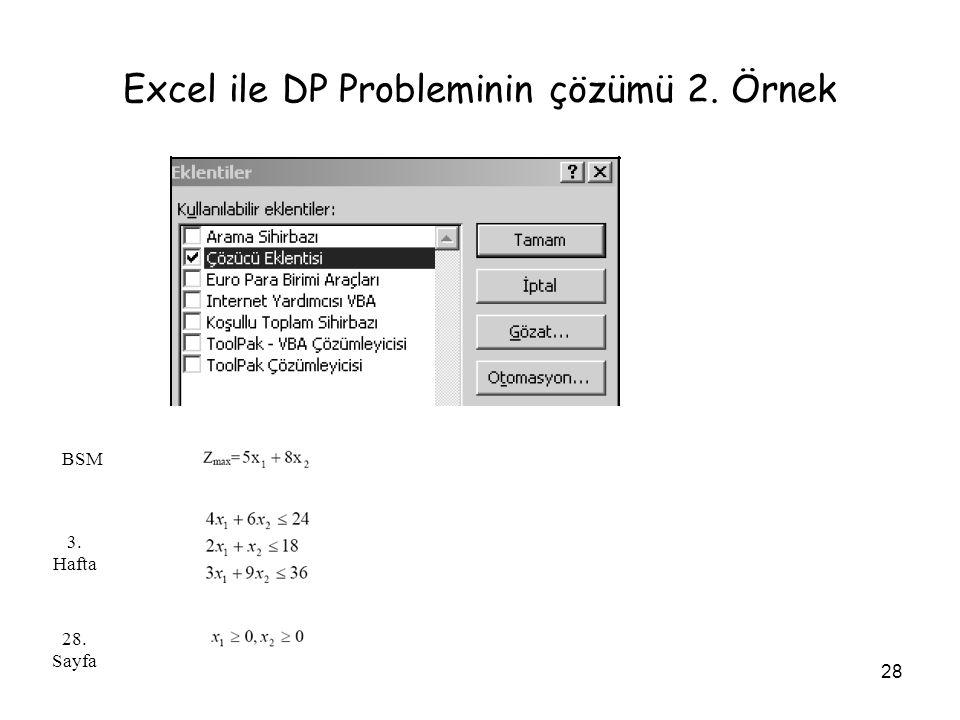 Excel ile DP Probleminin çözümü 2. Örnek