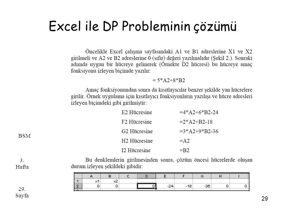 Excel ile DP Probleminin çözümü