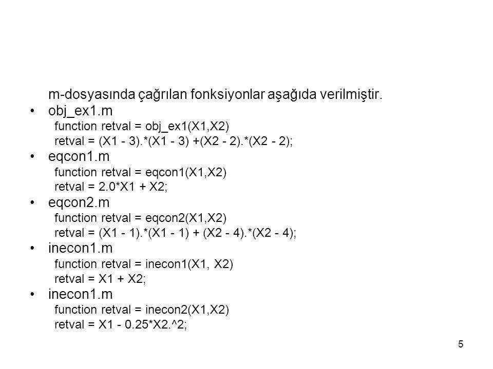 m-dosyasında çağrılan fonksiyonlar aşağıda verilmiştir. obj_ex1.m