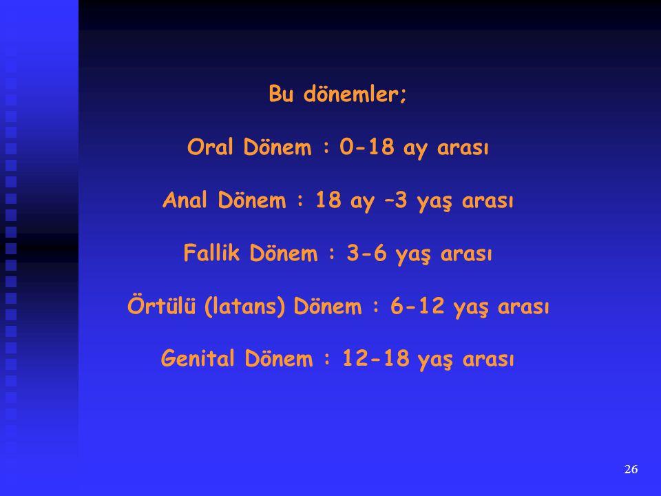 Anal Dönem : 18 ay –3 yaş arası Fallik Dönem : 3-6 yaş arası