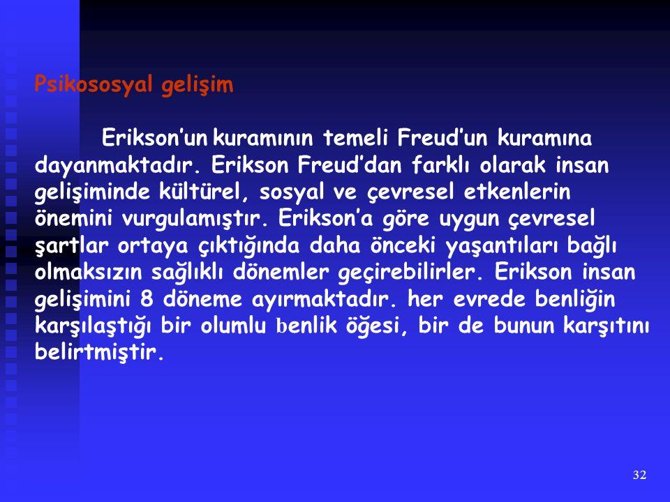 Psikososyal gelişim Erikson'un kuramının temeli Freud'un kuramına. dayanmaktadır. Erikson Freud'dan farklı olarak insan.