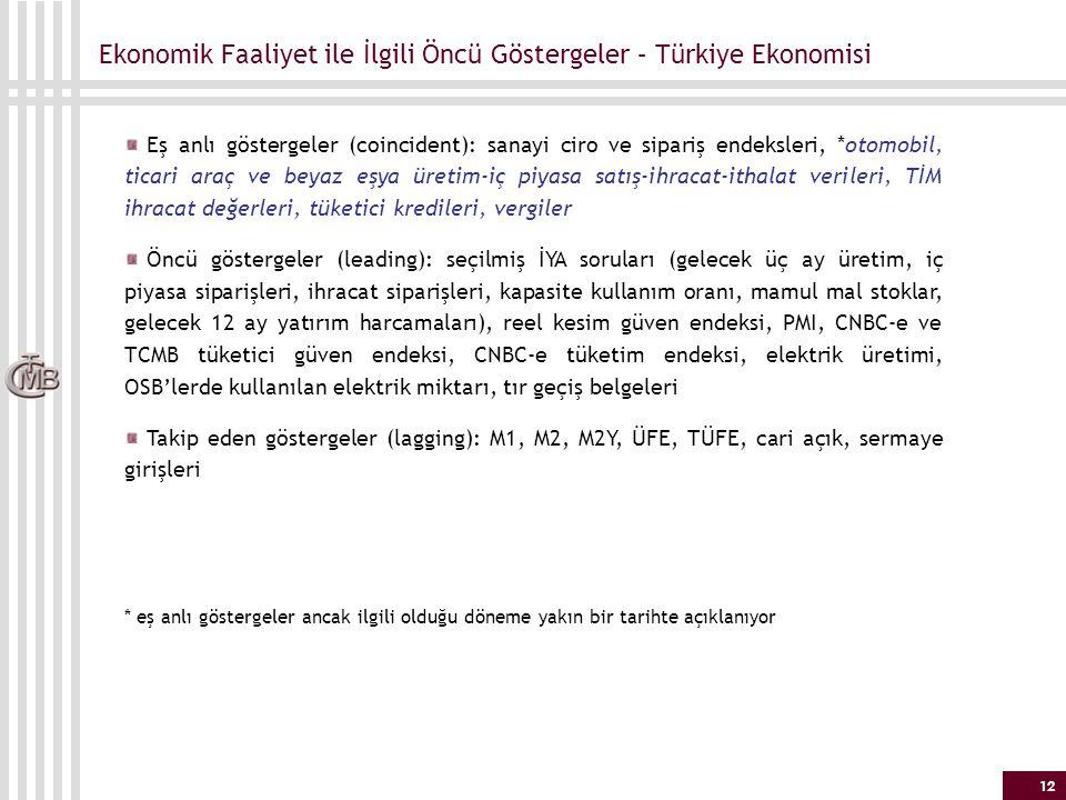 Ekonomik Faaliyet ile İlgili Öncü Göstergeler – Türkiye Ekonomisi