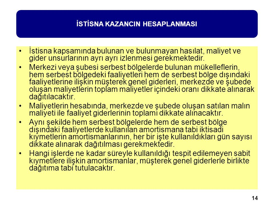 İSTİSNA KAZANCIN HESAPLANMASI