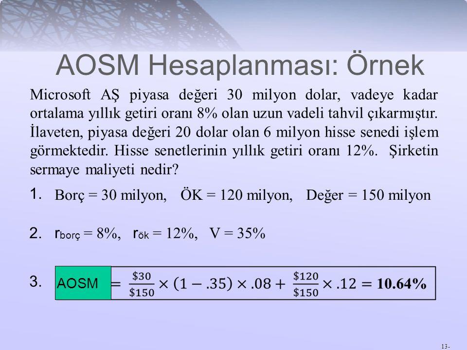 AOSM Hesaplanması: Örnek