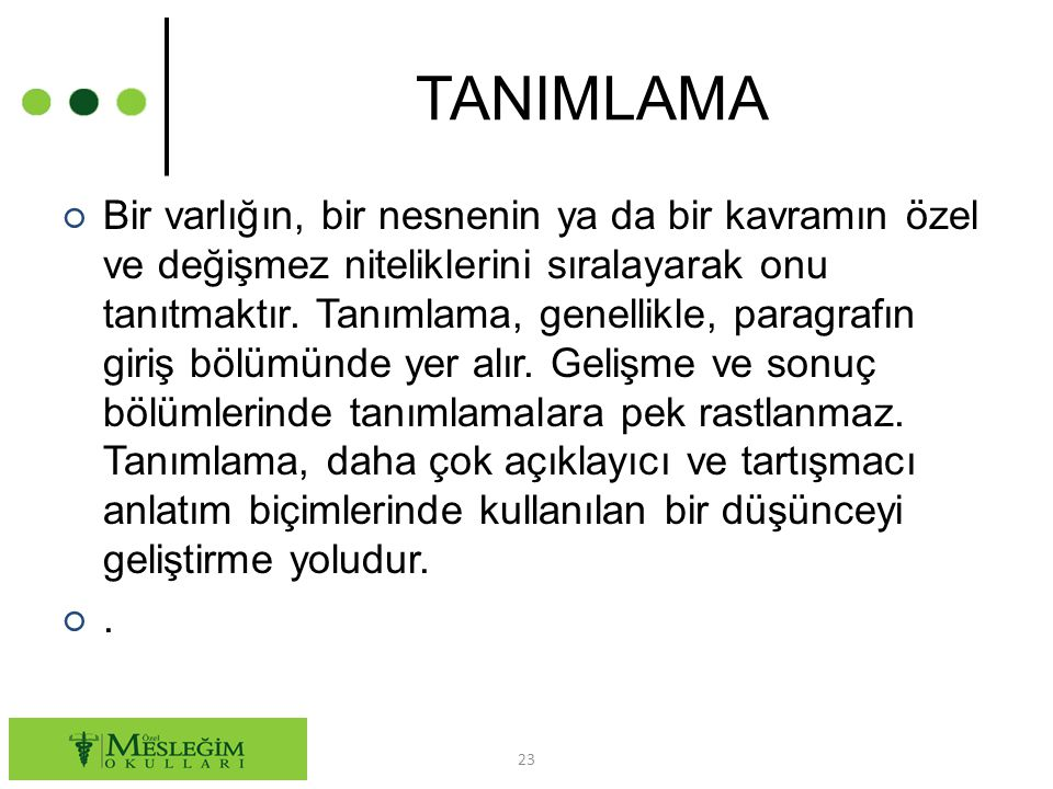 TANIMLAMA