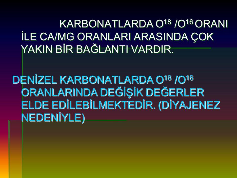 KARBONATLARDA O18 /O16 ORANI İLE CA/MG ORANLARI ARASINDA ÇOK YAKIN BİR BAĞLANTI VARDIR.