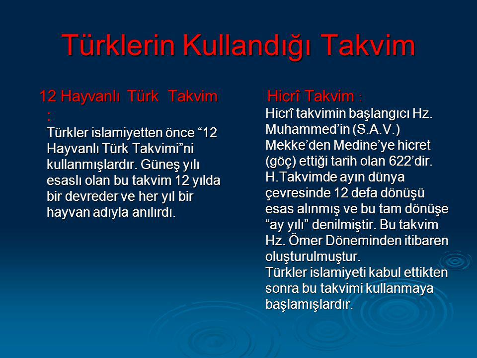 Türklerin Kullandığı Takvim
