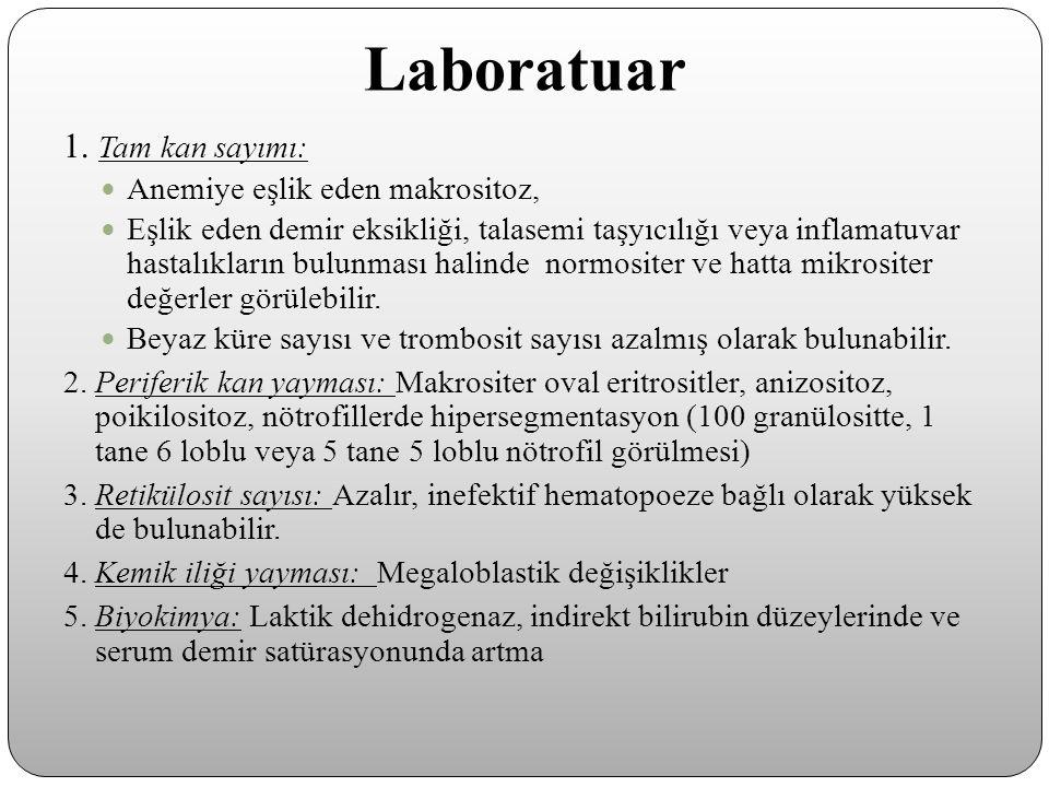 Laboratuar 1. Tam kan sayımı: Anemiye eşlik eden makrositoz,
