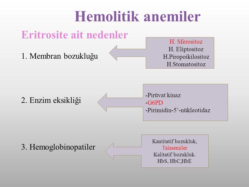 Hemolitik anemiler Eritrosite ait nedenler 1. Membran bozukluğu